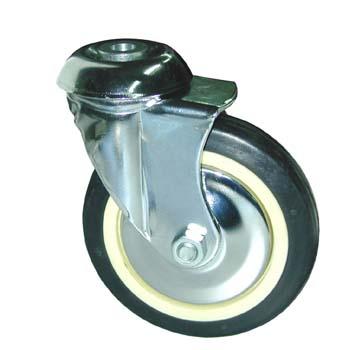 Rueda de goma negra con soporte giratorio (buje) y doble hilera de rodamientos