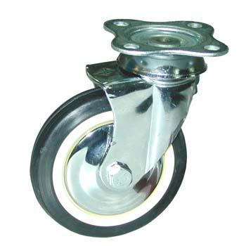 Rueda de goma negra con soporte giratorio (pletina) y doble hilera de rodamientos