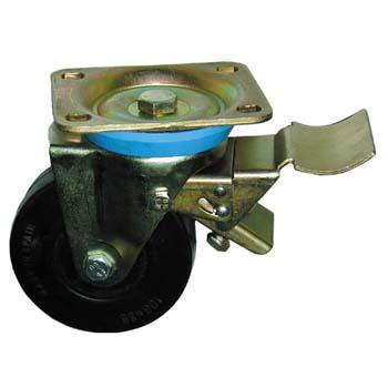 Rueda de goma con soporte giratorio y freno