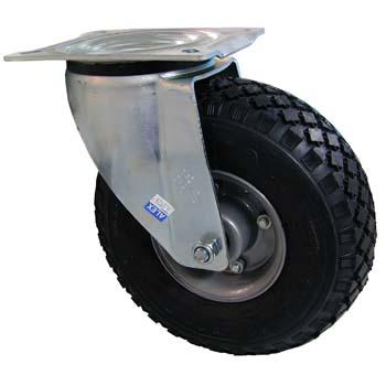 Rueda neumática giratoria con llanta metálica