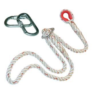 Cuerda de poliamida de tres cabos con dos mosquetones.