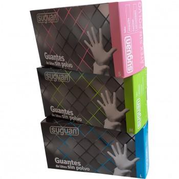 Guante de látex desechable (sin polvo) en cajas de 100 unidades