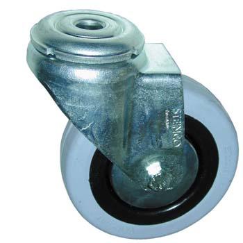 Rueda giratoria de goma con agujero pasante para tornillos de métrica 10