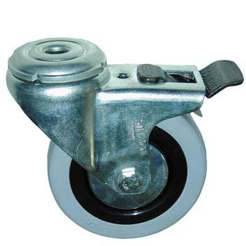 Rueda giratoria de goma con freno y agujero pasante para tornillos de métrica 10