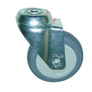 Rueda giratoria de goma con agujero pasante para tornillos de métrica 12