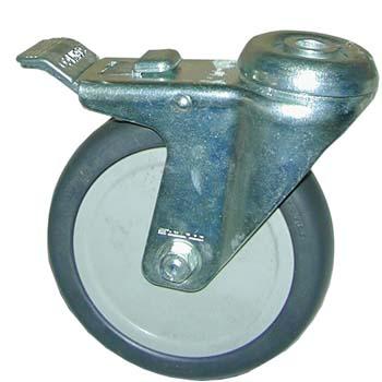 Rueda giratoria de goma con freno y agujero pasante para tornillos de métrica 12