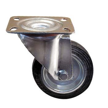 Rueda de goma negra con soporte giratorio