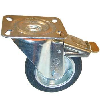 Rueda de goma negra con soporte giratorio y freno