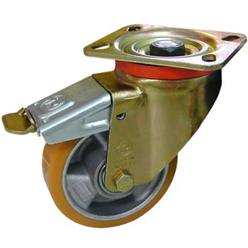 Rueda de poliuretano con núcleo de aluminio y soporte giratorio con freno