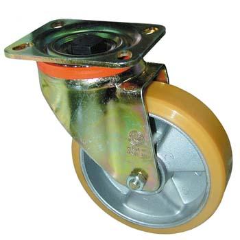 Rueda de poliuretano con núcleo de aluminio y soporte giratorio