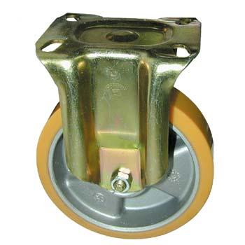 Rueda de poliuretano con núcleo de aluminio y soporte fijo