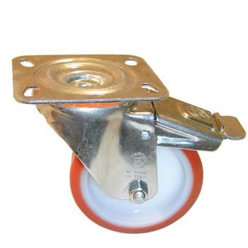 Rueda de poliuretano con soporte giratorio y freno