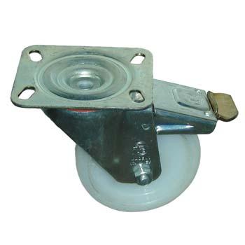Rueda de poliamida con soporte giratorio y freno