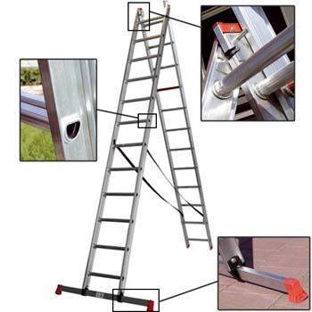Escalera combinada de 2 tramos de aluminio