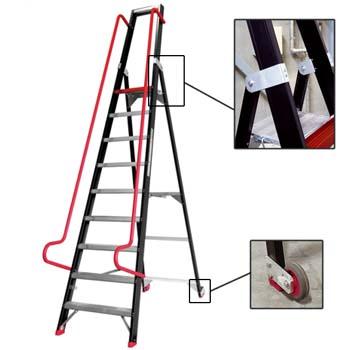 Escalera de tijera plegable para almacén