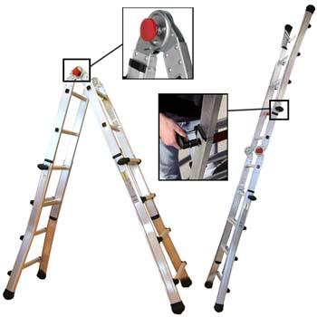 Escalera telescópica multiusos de aluminio