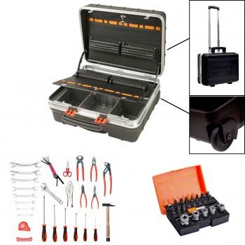 Pack maleta con ruedas + 32 herramientas + juego puntas