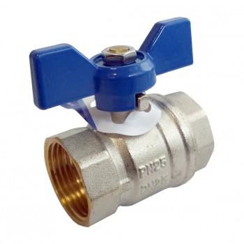 Válvula esfera (mando palomilla color azul) pn-25 ref. 4093
