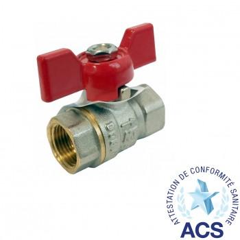 Válvula esfera de paso total (mando palomilla color rojo) pn-30 ref. 4102