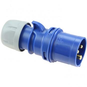 Clavija industrial 2p+t 16a 230v azul ip44
