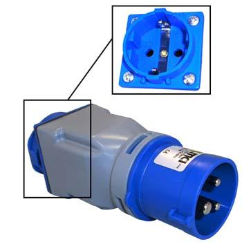 Adaptador toma industrial - base schuko 2p+t 16a