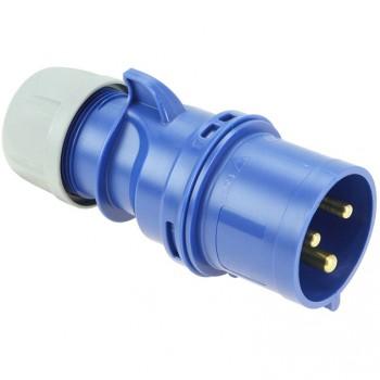 Clavija industrial 2p+t 32a 230v azul ip44