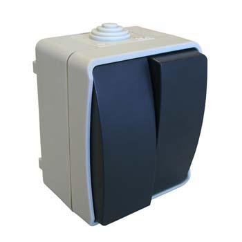 Interruptor / conmutador doble estanco de superficie