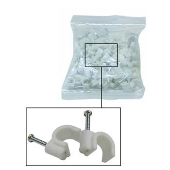Bolsa de 100 grapas de plástico con clavo para cable redondo