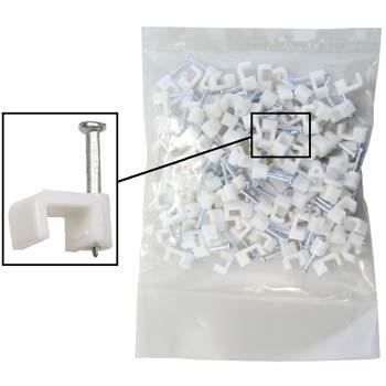 Bolsa de 100 grapas de plástico con clavo para cable plano