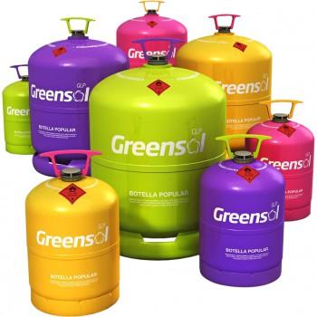 Botella recargable (vacía) para carga de gas g.l.p. greensol