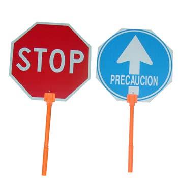 Señal de obra con mango stop-paso.