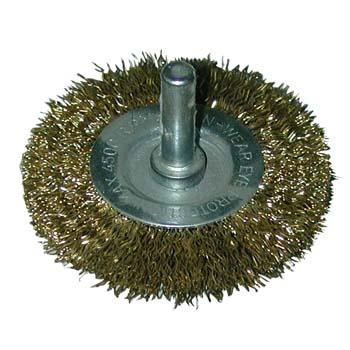 Cepillo circular de alambre ondulado con espiga