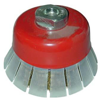 Cepillo taza de alambres ondulados con guarda protectora