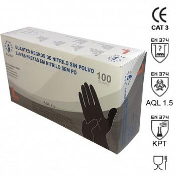 Guante de nitrilo desechable (sin polvo) en cajas de 100 unidades