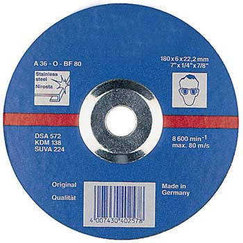 Disco de desbaste a36o acero inox