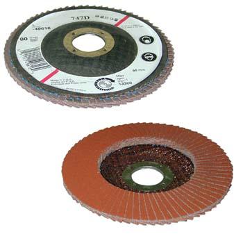 Disco abrasivo con laminillas de tela abrasiva y mineral cerámico cubitrón y lubricante incorporado