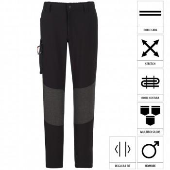 Pantalón regular fit con estilo trekking y refuerzos en trasero mod. 04830