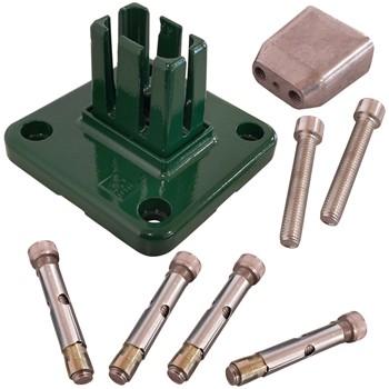 Base de aluminio para postes hercules® de color verde (ral 6005)