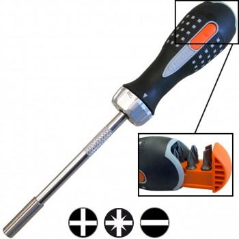Destornillador de carraca con alojamiento para puntas
