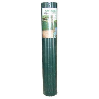Cañizo de plástico verde tejido con hilo de nylon.