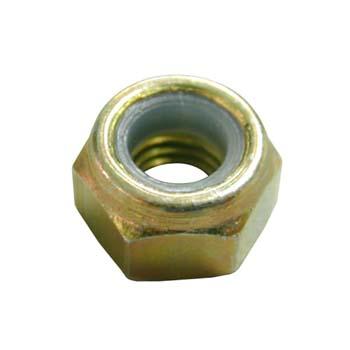 Tuerca din-985 hexagonal de seguridad con arandela plástica, de acero (8.8) bicromatado y rosca métrica.