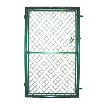 Puerta de enrejado de simple torsión verde para utilizar con candado.