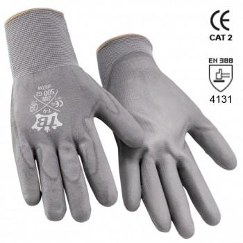 Guantes de nylon gris y recubrimiento de poliuretano gris en palma mod. 500g2 uretan