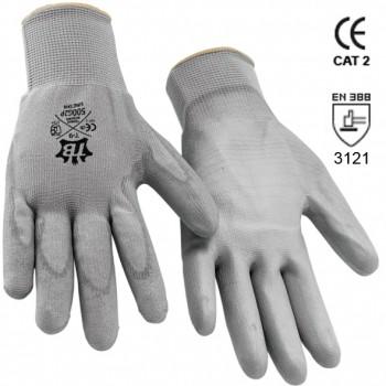 Guantes de poliéster gris y recubrimiento de poliuretano gris en palma mod. 500g2p uretan