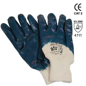 Guante de nitrilo azul con dorso descubierto mod. 9020b