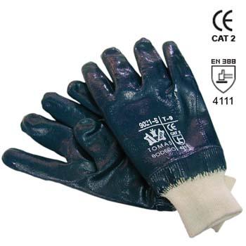 Guante de nitrilo azul con dorso cubierto mod. 9021b