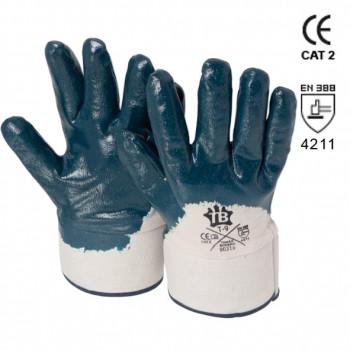 Guante de nitrilo azul con puño de seguridad mod. 9031b