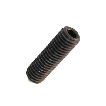 Tornillo din-914 sin cabeza con hueco hexagonal y extremo cónico, de acero (12.9) y rosca métrica.