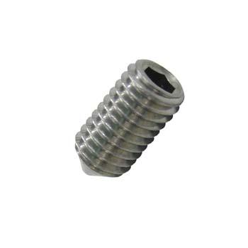 Tornillo din-914 sin cabeza con hueco hexagonal y extremo cónico, de acero inoxidable a2 y rosca métrica.