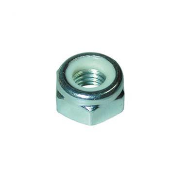 Tuerca din-985 hexagonal de seguridad con arandela plástica, de acero (c-8) cincado y rosca métrica.